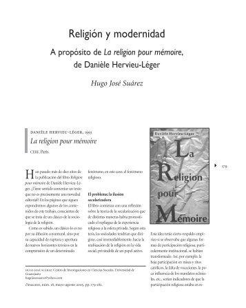 Religión y modernidad. A propósito de Religion pour ... - Ciesas