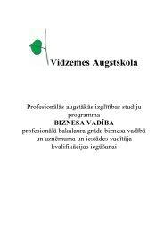 Biznesa vadība - Vidzemes Augstskola