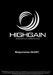 Ton - HIGH GAIN Veranstaltungstechnik