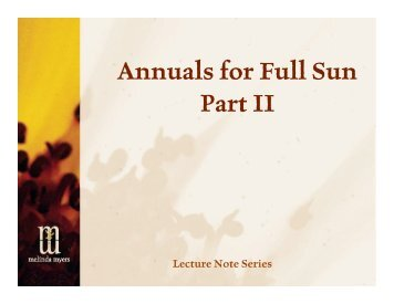 Annuals for Full Sun Part II - Melinda Myers