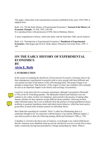 ON THE EARLY HISTORY OF EXPERIMENTAL ECONOMICS BY ...