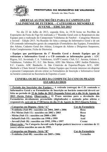 Futebol Menores e Juvenil - 2013 - Inscrições Abertas - Valinhos