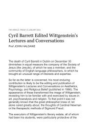 Cyril Barrett Edited Wittgenstein's Lectures and Conversations