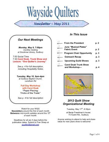 May 2011 - Wayside Quilters Guild