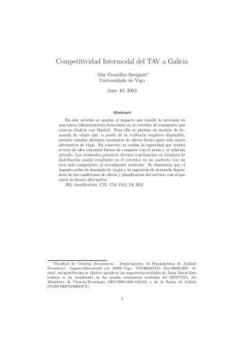 Competitividad Intermodal del TAV a Galicia