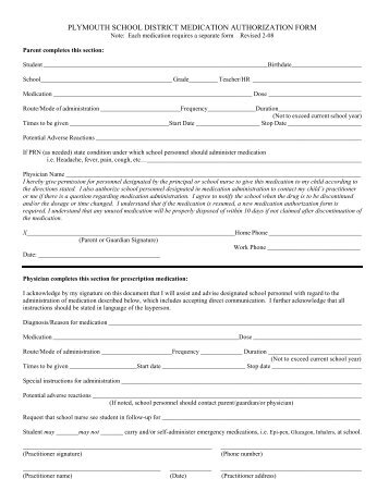 Medication Authorization Form - Plymouth School District