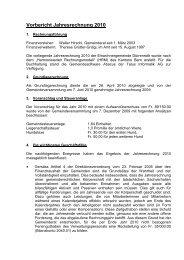 Vorbericht Jahresrechnung 2010 - Dürrenroth