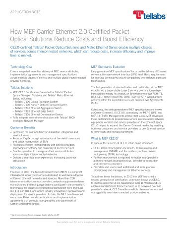 How MEF Carrier Ethernet 2.0 Certified Packet Optical ... - Tellabs