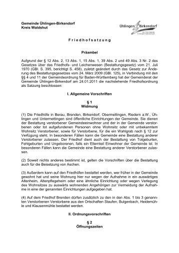 Friedhofsordnung (PDF) - Gemeinde Ühlingen-Birkendorf