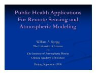 Public Health Applications For Remote Sensing and Atmospheric ...