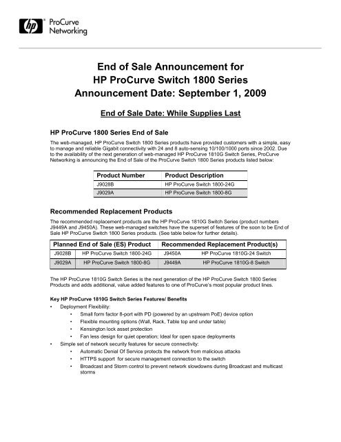End of sale announcement - HP Networking
