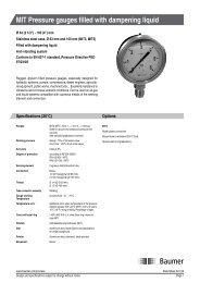 MIT Pressure gauges filled with dampening liquid - Baumer