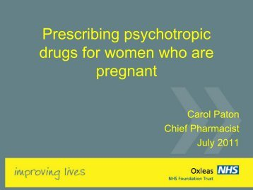 Prescribing psychotropic drugs for women who are pregnant - Carol ...