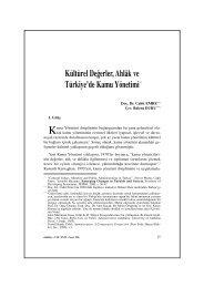 Kültürel Değerler, Ahlâk ve Türkiye'de Kamu Yönetimi