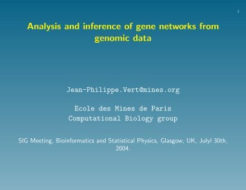 Analysis and inference of gene networks from genomic data