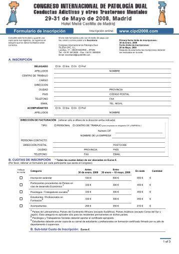 Formulario de Inscripción y Alojamiento