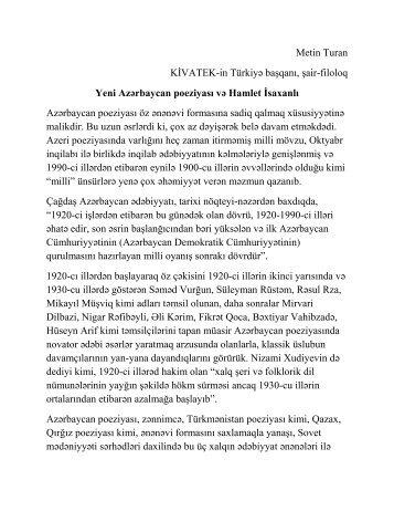 Yeni Azərbaycan poeziyası və Hamlet İsaxanlı
