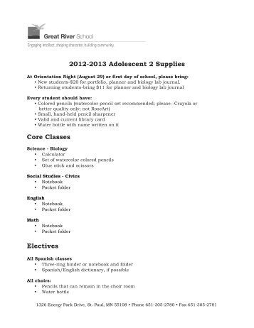 A2 Supply List 2012-2013 - Great River School