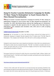 Kung Fu Teacher Launches Kickstarter Campaign for Reality TV Show