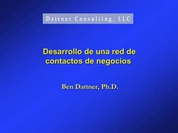 Desarrollo de una red de contactos de negocios - Dattner Consulting