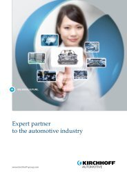 Expert partner to the automotive industry - Kirchhoff Gruppe