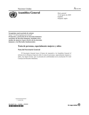 Nota del Secretario General sobre la Trata de personas ... - Acnur