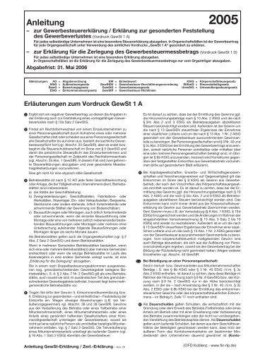 Anleitung Zur Gewerbesteuererklärung Vordrucke Gewst 1a Und 1d