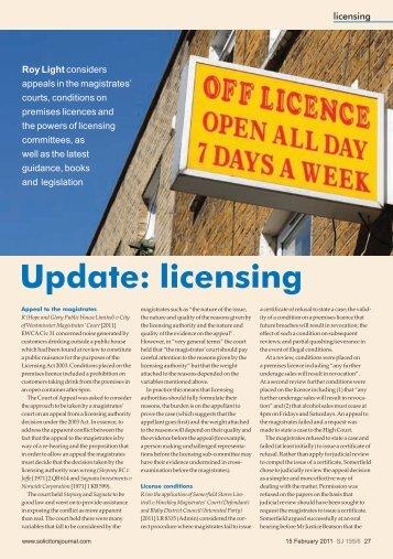 Licensing Update February 2011 - St John's Chambers