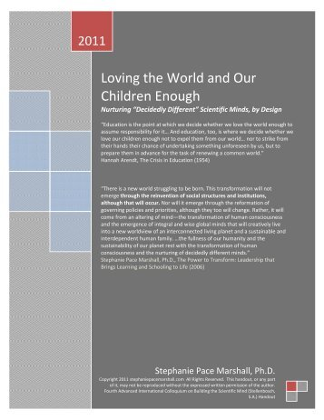 Loving the world and our children enough: Nurturing - Learning ...
