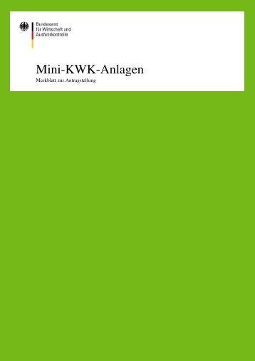 Merkblatt zur Antragstellung auf Förderung von Mini-KWK-Anlagen