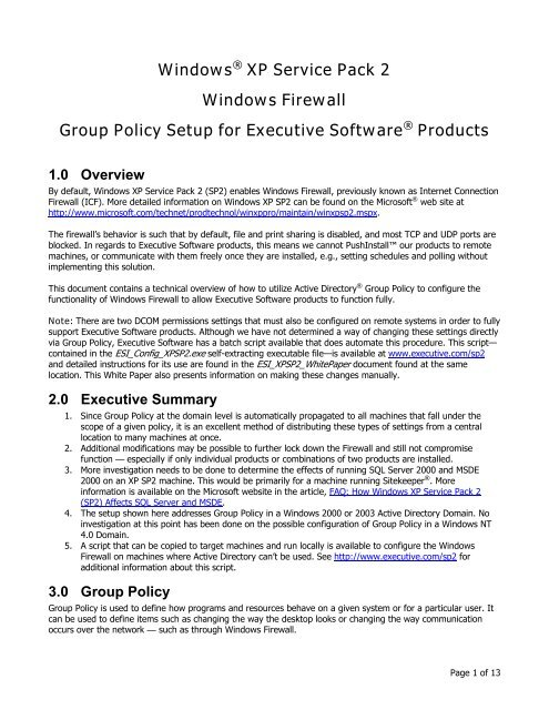 Windows XP SP2 Windows Firewall Group Policy Setup for