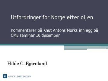 Utfordringer for Norge etter oljen