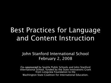 Best Practices for Language and Content Instruction - International ...