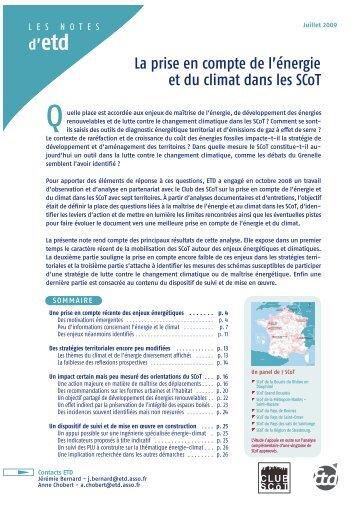 Note Etd | La prise en compte de l'énergie et du climat dans les SCoT