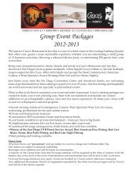 Group Event Packages 2012-2013 - Croces