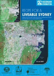 recipe for a liveable sydney - Australian Conservation Foundation