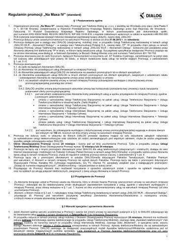 """Regulamin promocji """"Na Maxa IV"""" (standard) - Dialog"""