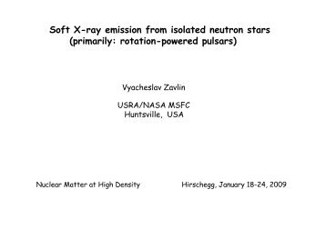 Soft X-ray emission from isolated neutron stars (primarily: rotation ...