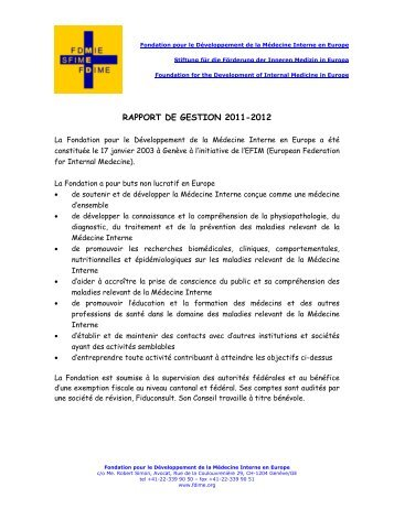 RAPPORT DE GESTION 2011-2012 - FDIME