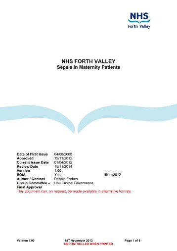 Sepsis in Maternity Patients - NHS Forth Valley