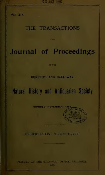 Vol 19 - Dumfriesshire & Galloway Natural History and Antiquarian ...