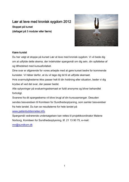Lær at leve med kronisk sygdom 2012 - Patientuddannelse