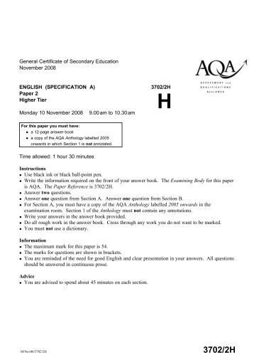 English 2008 June GCSE, Help! :(?