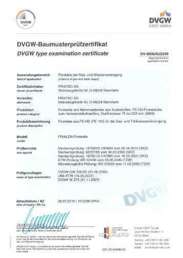 DVGW FRIALEN Formteile d75 - d225 - Friatec AG