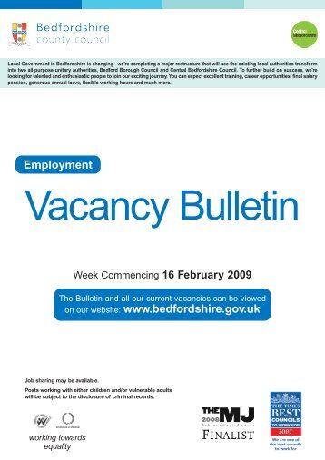 Employment on our website - Bedfordshire County Council