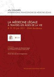 la MédeCIne légale - Réseau PREVIOS