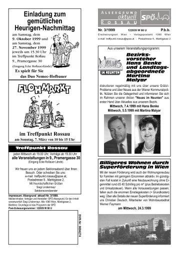 Alsergrund aktuell Ausgabe Frühjahr 1999 - Treffpunkt Rossau - SPÖ