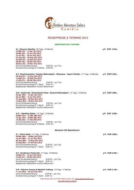 SAFARIS 2012 Termine und Preisliste - Outdoor Adventure