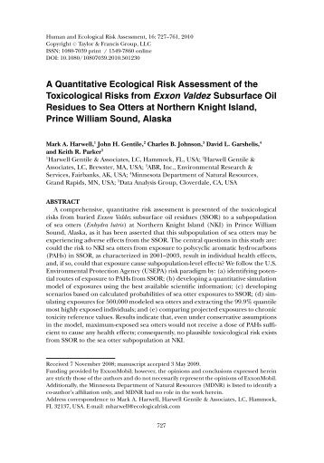A Quantitative Ecological Risk Assessment of the ... - The Otter Project