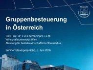 Vortrag Prof. Dr. Eva Eberhartinger zum 15. Berliner Steuergespräch